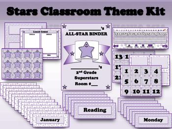 Stars Classroom Theme Kit - Purple Superstars - King Virtue