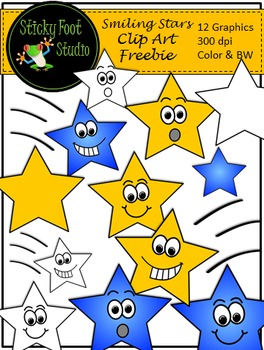 Stars Clip Art Freebie - 12 Color and BW