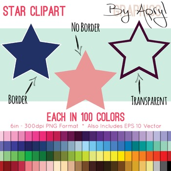 Stars Clip Art Star Frame in 100 Colors PNG and Vector EPS