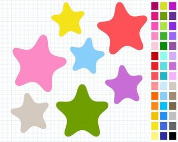 Stars Digital Clip Art, Cute Clipart, 43 Stars