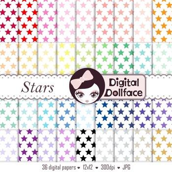 Stars Digital Paper, Star Pattern Backgrounds