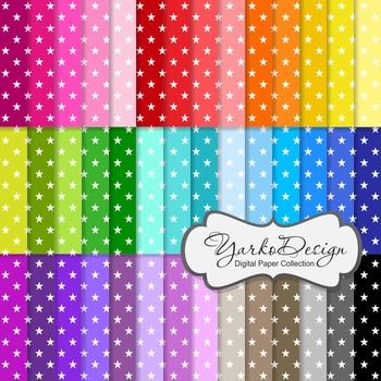 Stars Digital Pattern Scrapbooking Paper Set, 42 Digital Papers