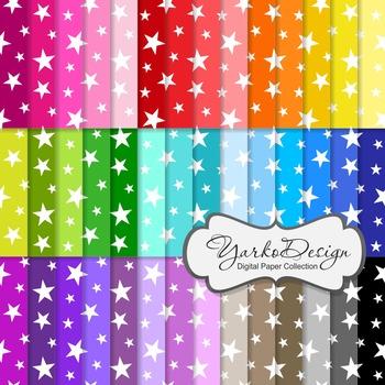 Stars Digital Pattern Scrapbooking Paper Set, 42 Digital Papers