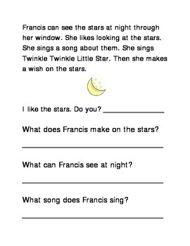 Stars Following Directions Comprehension Emergent Reader Printable Literacy