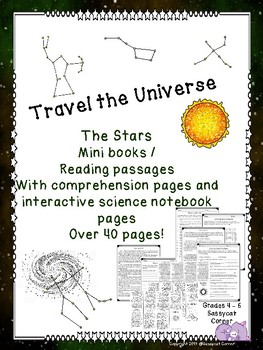 Stars, Galaxies, Constellations, and more Minibook & Comprehension sheets bundle