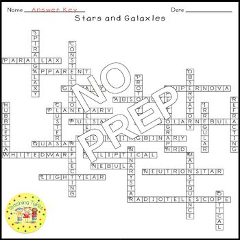 Stars Galaxies Earth Science Crossword Coloring Puzzle Worksheet Middle School