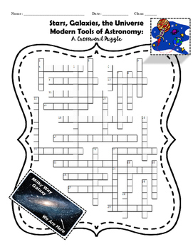 Stars, Galaxies, Universe, and Modern Tools of Astronomy: A Crossword Puzzle