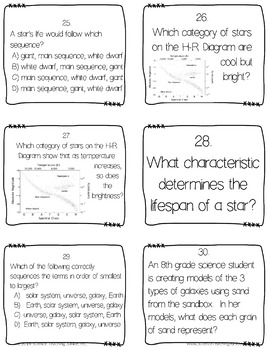 Stars, Galaxies and the EM Spectrum Task Cards