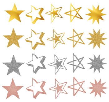 Stars (Gold, Gold Glitter, Silver Glitter, and Rose Gold) PNG Clip Art Files