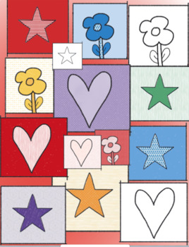 Stars, Hearts, Flowers! Squares Clipart