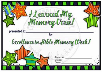 Stars I Learned My Memory Verse! award --FREE