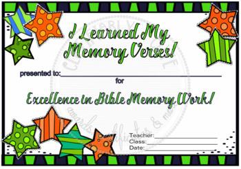 Stars I Learned My Memory Verse! award --FREE!