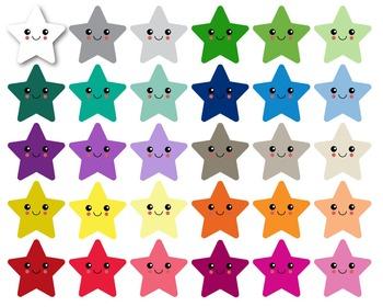 Stars Kawaii  - Clipart - 30 colors - 30 PNG files - 300 dpi