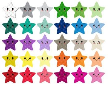 Stars Kawaii  - Clipart - 30 colors - 30 PNG files - Polka dots tone on tone