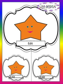 Stars - Editable Labels - Name tags - Task cards - Back to School Activity