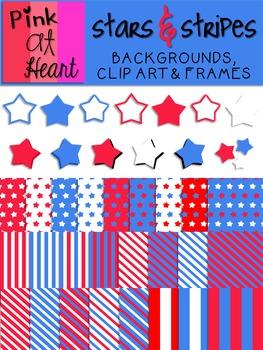 Stars N Stripes Set: Backgrounds, Clip Art and Frames