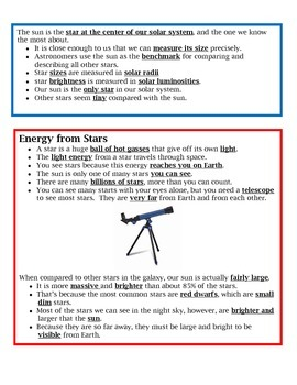 Stars Notes/Study Guide 4th Grade Science