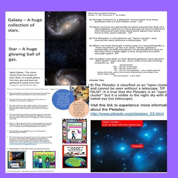 Stars Part 3 Galaxies Quiz Special Needs/ELD/OHI/Autism/SLD