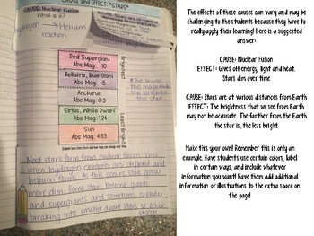 Stars Reading Comprehension Interactive Notebook