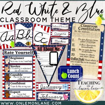 Stars & Stripes Cursive Classroom Theme (Editable) Patriotic Red White & Blue