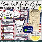 Stars | Stripes Cursive Classroom Theme Bundle (Editable) Red White Blue
