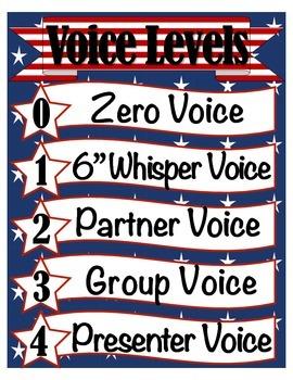 Stars & Stripes Classroom Management: Voice Levels