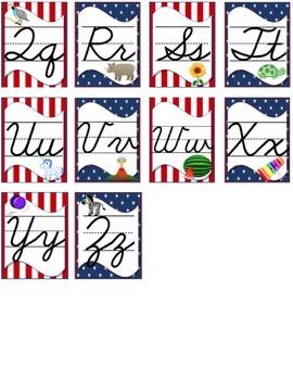 Stars & Stripes Classroom Theme: Cursive Alphabet