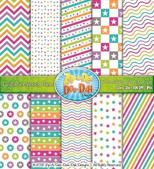 Stars & Stripes Digital Scrapbook Pack — Retro Rainbow (10 Pages)