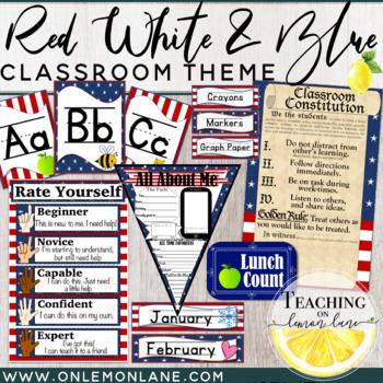 Stars & Stripes Patriotic Classroom Theme Mega Bundle Red White Blue *editable