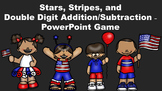 Stars, Stripes, and Double Digit Addition/Subtraction - PowerPoint Game
