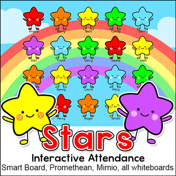 Stars Theme Attendance with Optional Lunch Count for Interactive Whiteboards