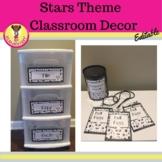 Stars Theme Black and White Classroom Decor (Editable)