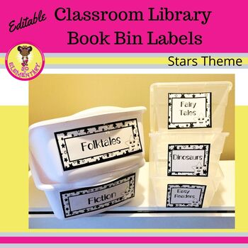 Classroom Library Book Bin Labels Stars Theme (Editable)