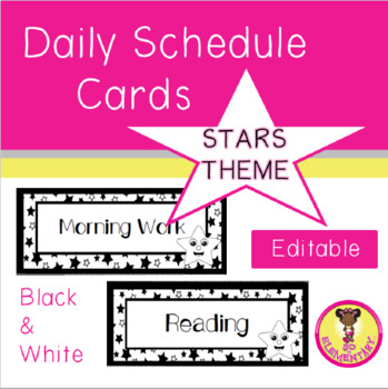 Daily Schedue Cards Stars Theme (Editable)