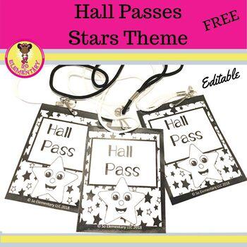 Hall Passes Stars Theme (Editable)