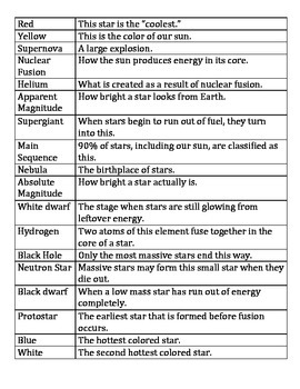 Stars Vocabulary Review Game