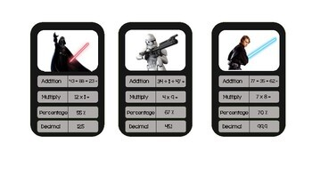 Stars Wars Top Trumps Maths Cards