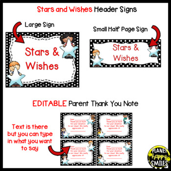 Stars & Wishes Class Donations ~ Black and White Polka Dot (Editable)