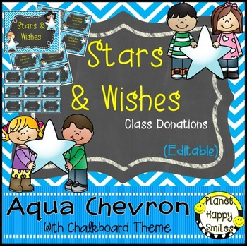 Stars & Wishes Class Donations (editable) Aqua and Chalkboard Theme