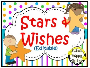 Stars & Wishes Class Donations (editable) - Bright Polka D