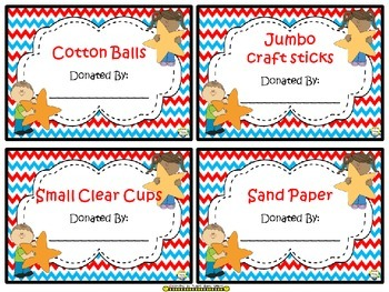 Stars & Wishes Class Donations (editable) - Red, White & Blue Chevron