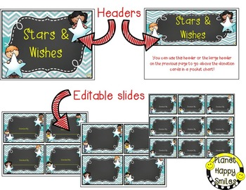 Stars & Wishes Class Donations (editable) Teal and Chalkboard Theme