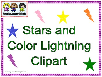 Stars and Color Lightning Clipart