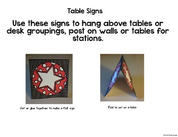 Stars and Dots Theme Table and Station Signs