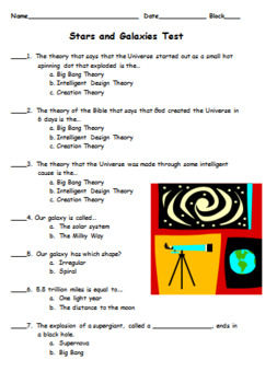 Stars and Galaxies Test and Study Guide