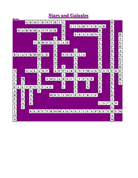 Stars and Galaxies Crossword Puzzle