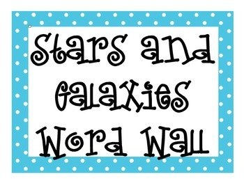 Stars and Galaxies Word Wall