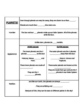 Stars and Planets Power Point NOTES