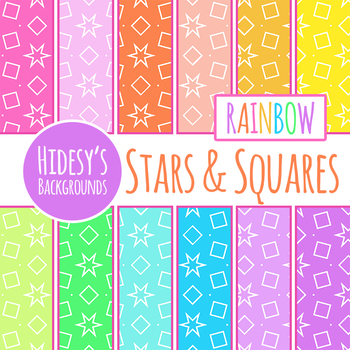 Stars and Squares Rainbow Background / Digital Paper Clip Art Set
