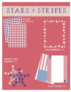 Digital Papers & Borders: Stars and Stripes